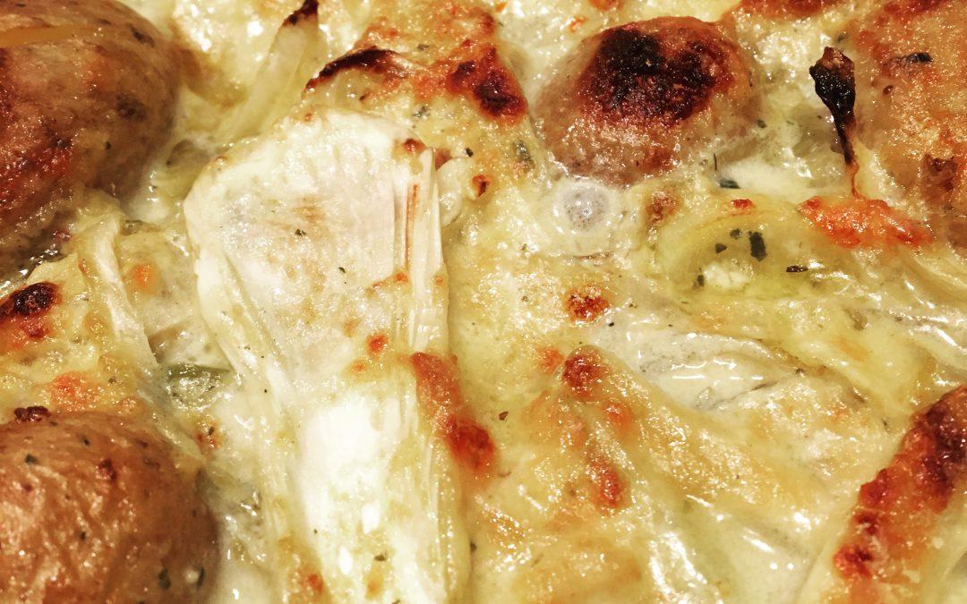 Gratinierter Fenchel mit Kartoffeln mit Hefeflocken